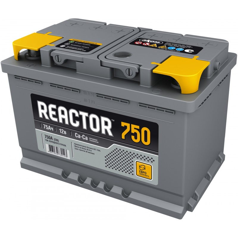 Аккумулятор REACTOR 6CT-75.0 обратная полярность